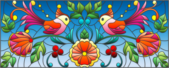 Illustration in stained glass style with a pair of abstract birds , flowers and patterns on a blue background , horizontal image