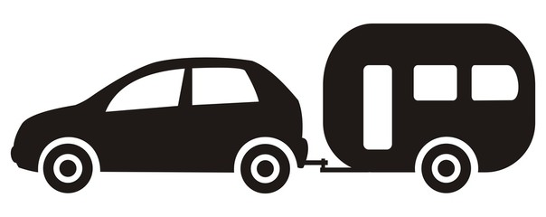 car and trailer, black silhouette, vector icon