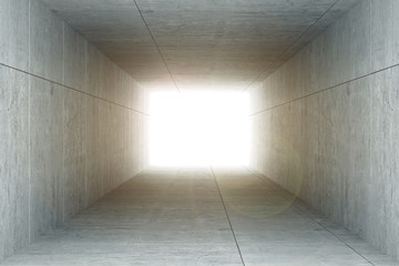3d rendering : illustration of Abstract square cement concrete tunnel interior,light at the end of tunnel, go to success concept, abstract tunnel background