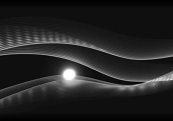 wave 黒背景 灰