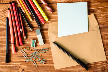color pancils , note book, back to school background