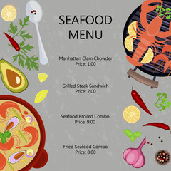 Seafood menu flat design with copy space on gray stone background. Top view vector illustration eps 10