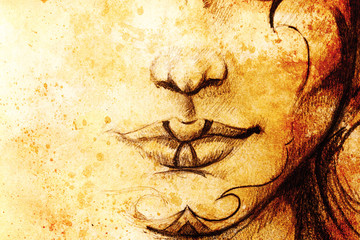 drawing of woman lower lace wit detail of lips and chin with ornaments, on abstract background.