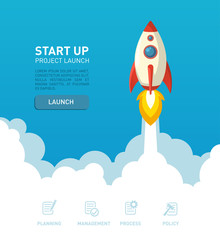 Flat style rocket ship illustration in a website bacground environment with web elements for start up and deverlopment projects of creative ideas presentation