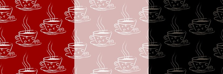 seamless background with a hot drink in a mug in hand drawn style