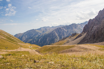 Panoramic view from Talgar Pass in Tien Shan mountains, Almaty, Kazakhstan