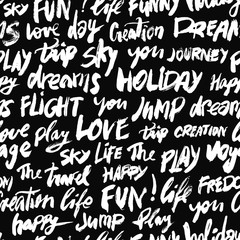 Seamless positive pattern with words love, fun, sky, travel, holiday and other