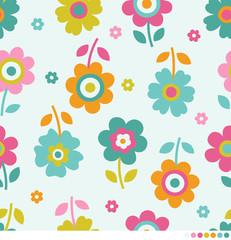 Cute flowers pattern background