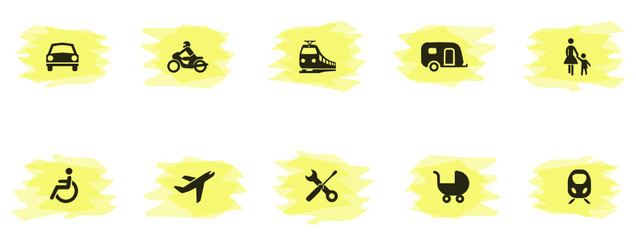 Icons Verkehr Textmarker