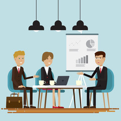 Business people meeting room characters illustration vector