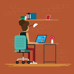 Women working in room at office,Vector illustration