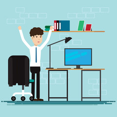 Business People happy in room at office,Vector illustration