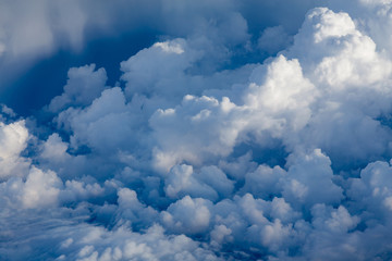 Blue sky and white clouds over the air, natural landscape background
