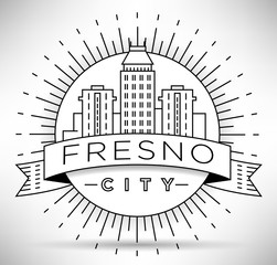 Minimal Fresno Linear City Skyline with Typographic Design