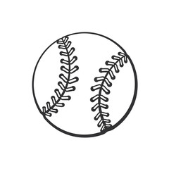Vector illustration. Hand drawn doodle of baseball ball. Sports equipment. Cartoon sketch. Decoration for greeting cards, posters, emblems, wallpapers