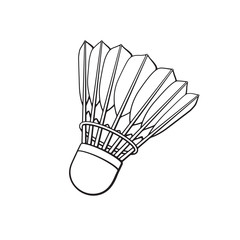 Vector illustration. Hand drawn doodle of shuttlecock for badminton from bird feathers. Sports equipment. Cartoon sketch. Decoration for greeting cards, posters, emblems, wallpapers