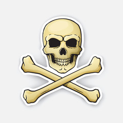 Vector illustration. Skull Jolly Roger with crossbones at the bottom. Sticker in cartoon style with contour. Decoration for greeting cards, patches, prints for clothes, badges, posters, emblems