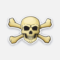 Vector illustration. Skull Jolly Roger with crossbones behind. Sticker in cartoon style with contour. Decoration for greeting cards, patches, prints for clothes, badges, posters, emblems