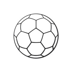 Vector illustration. Hand drawn doodle of leather soccer ball. Sports equipment. Cartoon sketch. Decoration for greeting cards, posters, emblems, wallpapers