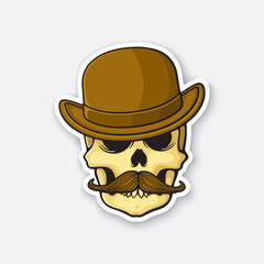 Vector illustration. Skull of a gentleman with a mustache in bowler hat. Sticker in cartoon style with contour. Decoration for greeting cards, patches, prints for clothes, badges, posters, emblems