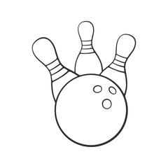Vector illustration. Hand drawn doodle of bowling ball knocks down pins. Sports equipment. Cartoon sketch. Decoration for greeting cards, posters, emblems, wallpapers