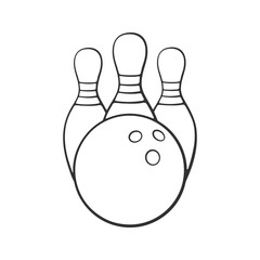 Vector illustration. Hand drawn doodle of bowling ball and pins. Sports equipment. Cartoon sketch. Decoration for greeting cards, posters, emblems, wallpapers