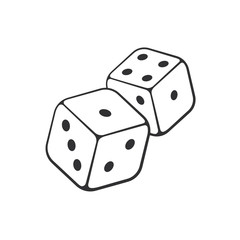 Vector illustration. Hand drawn doodle of two dice with contour. Gambling symbol. Cartoon sketch. Decoration for greeting cards, posters, emblems, wallpapers