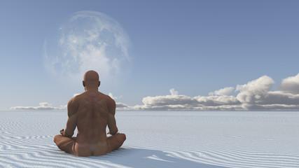 Man Meditates on white sands  Some elements provided courtesy of NASA
