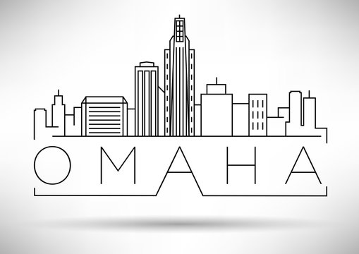 Minimal Omaha Linear City Skyline with Typographic Design