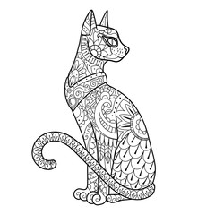 Cat coloring book vector illustration