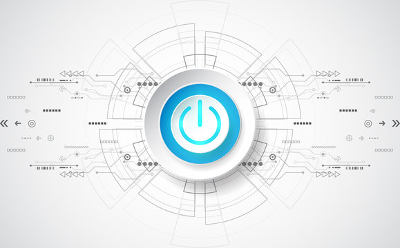 Abstract digital technology power button. vector background