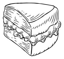 Sponge Cake Vintage Retro Woodcut Style