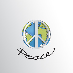 Peace sign on world with peace text ,paper cut style, world peace sign, vector illsutration