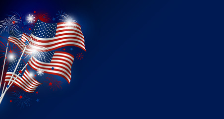 USA flag with fireworks design on blue background