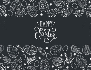 Happy Easter greeting card. Easter eggs composition hand drawn black on chalkboard. Decorative horizontal frame from eggs with leaves and calligraphic wording.