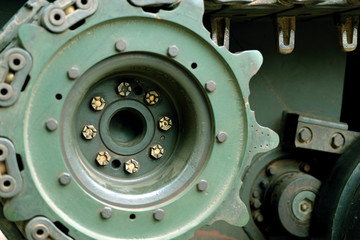 Closeup tank wheels