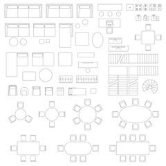 Furniture set icons for living room