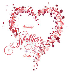 Floral heart and Mothers Day Lettering. Spring holidays. Vector Illustration EPS10