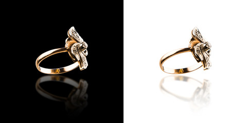 gold ring isolated set two pictures