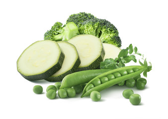 Green peas zucchini broccoli isolated on white background