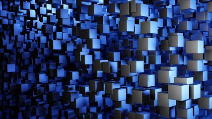 Abstrakter Hintergrund mit Würfeln in blauem Licht
