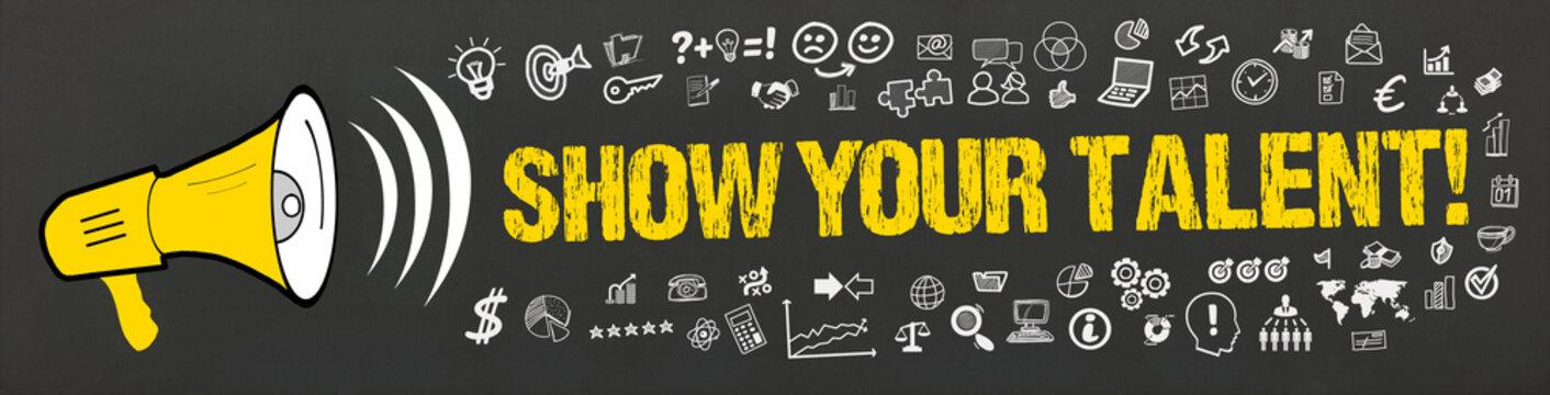 Show your Talent! / Megafon mit Symbole