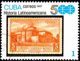 UKRAINE - CIRCA 2017: A stamp printed in CUBA shows Ancient Spanish fortress, series History of Latin America, circa 1987