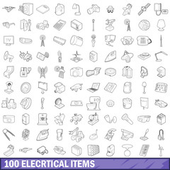 100 electrical items icons set, outline style