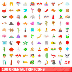 100 oriental trip icons set, cartoon style