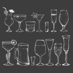 Cocktails - set of 14 white hand-drawn drinks
