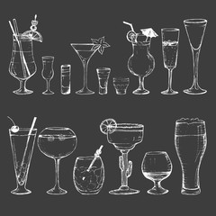 Cocktails - set of 15 white hand-drawn drinks