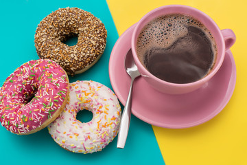 Donuts and a cup of coffee are American.