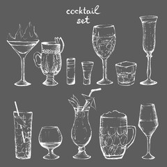 Cocktails - set of white hand-drawn drinks 2