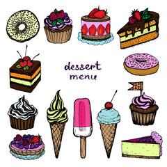 Dessert menu - set of color hand-drawn elements
